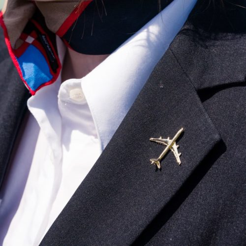Flugzeug Pin Airbus A340 gold