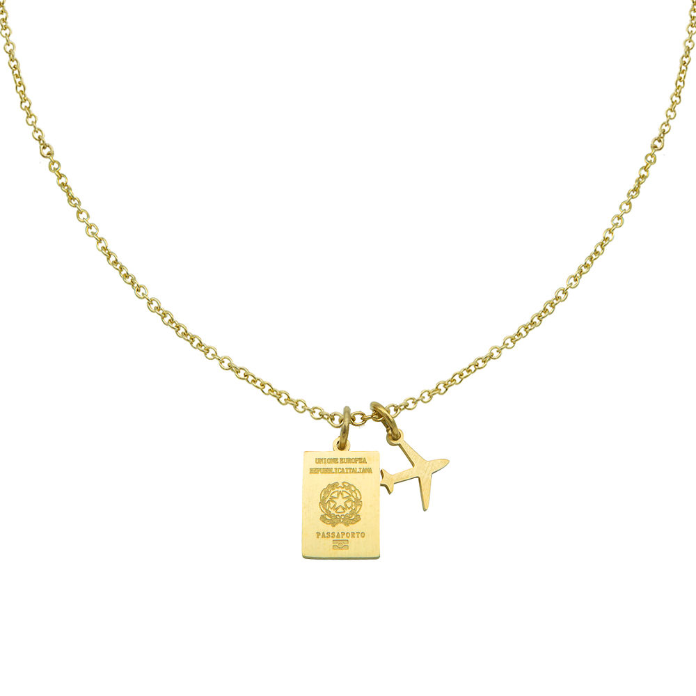 Italy Passport Travel Necklace Gold