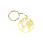 World Map Keychain Gold